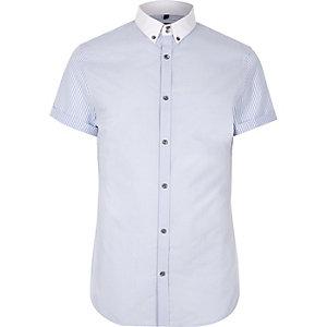 Blauw slim-fit overhemd met korte mouwen en strepenprint