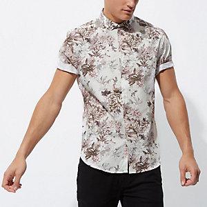 Crème slim-fit overhemd met korte mouwen en bloemenprint