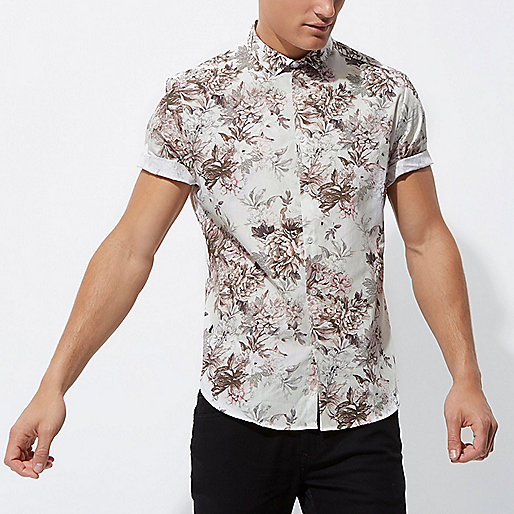Cream floral short sleeve slim fit shirt
