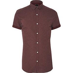 Bordeauxrood overhemd met korte mouwen en stippen