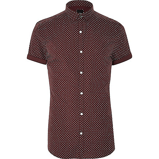 Burgundy polka dot short sleeve shirt short sleeve for Mens polka dot shirt short sleeve