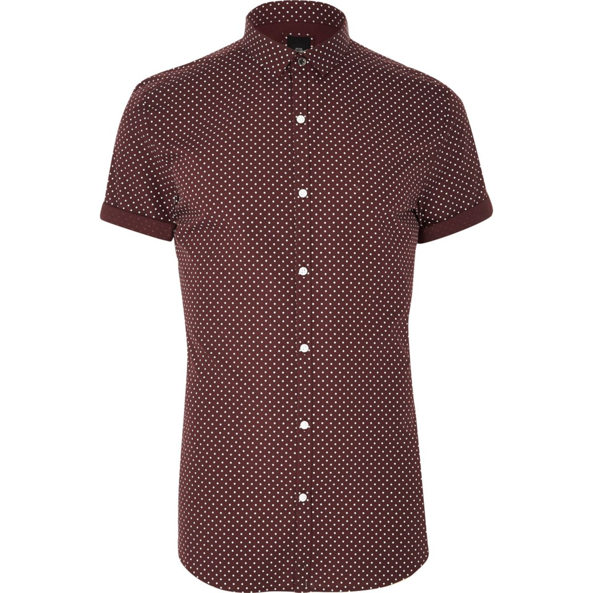 Burgundy polka dot short sleeve shirt shirts sale men for Mens polka dot shirt short sleeve