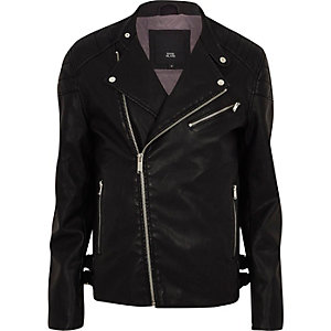 Black faux leather racer neck biker jacket