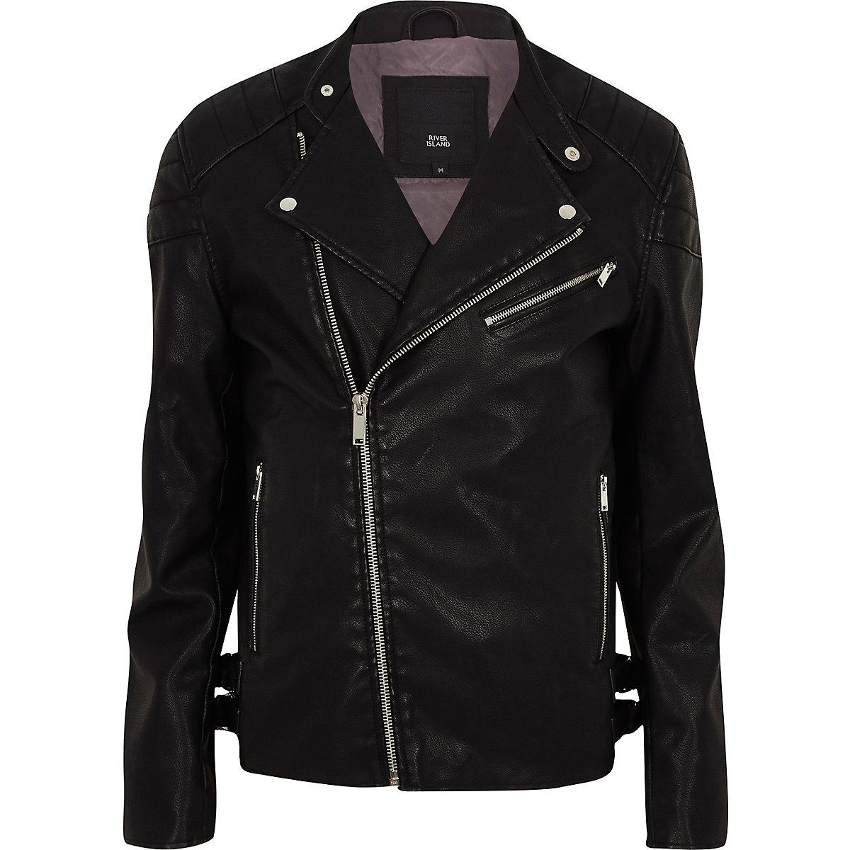 Black faux leather racer neck biker jacket
