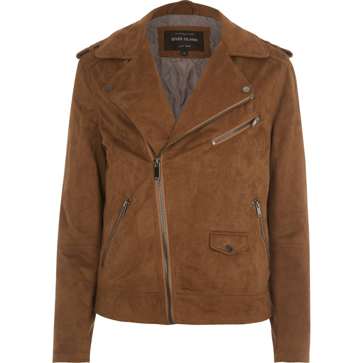 Tan faux suede biker jacket