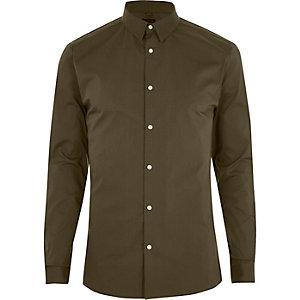 Kakigroen aansluitend overhemd met lange mouwen