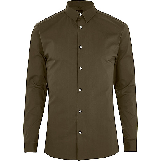 Khaki green long sleeve muscle fit shirt