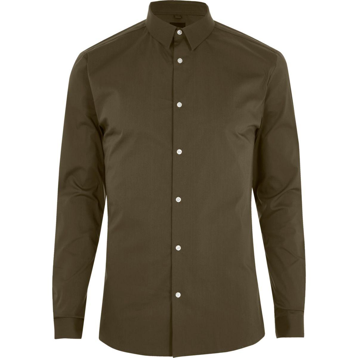 Khaki green long sleeve muscle fit shirt
