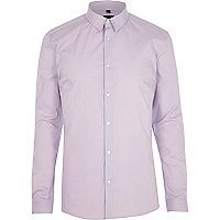 Lilac purple long sleeve muscle fit shirt