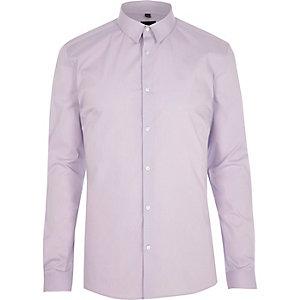Chemise ajustée violet clair à manches longues