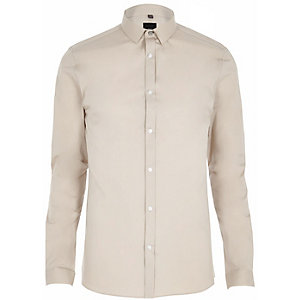 Steingraues, schmales, langärmliges Hemd