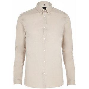 Kiezelkleurig skinny-fit overhemd met lange mouwen