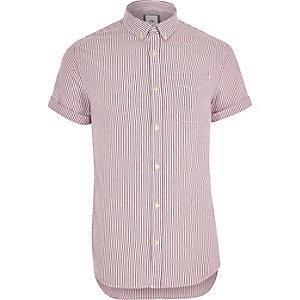 Paars Oxford overhemd met korte mouwen en strepenprint