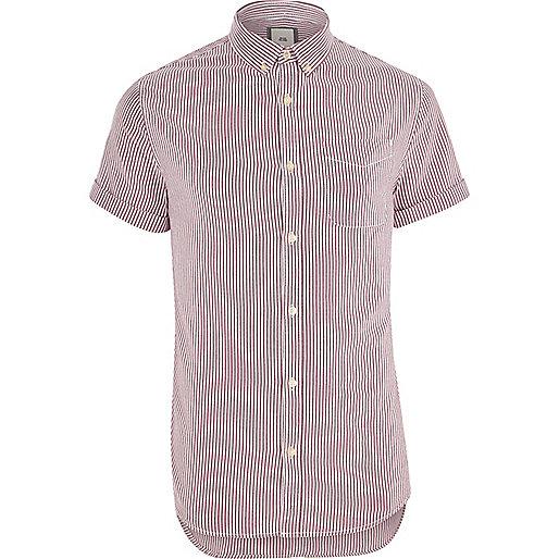Purple stripe print short sleeve Oxford shirt