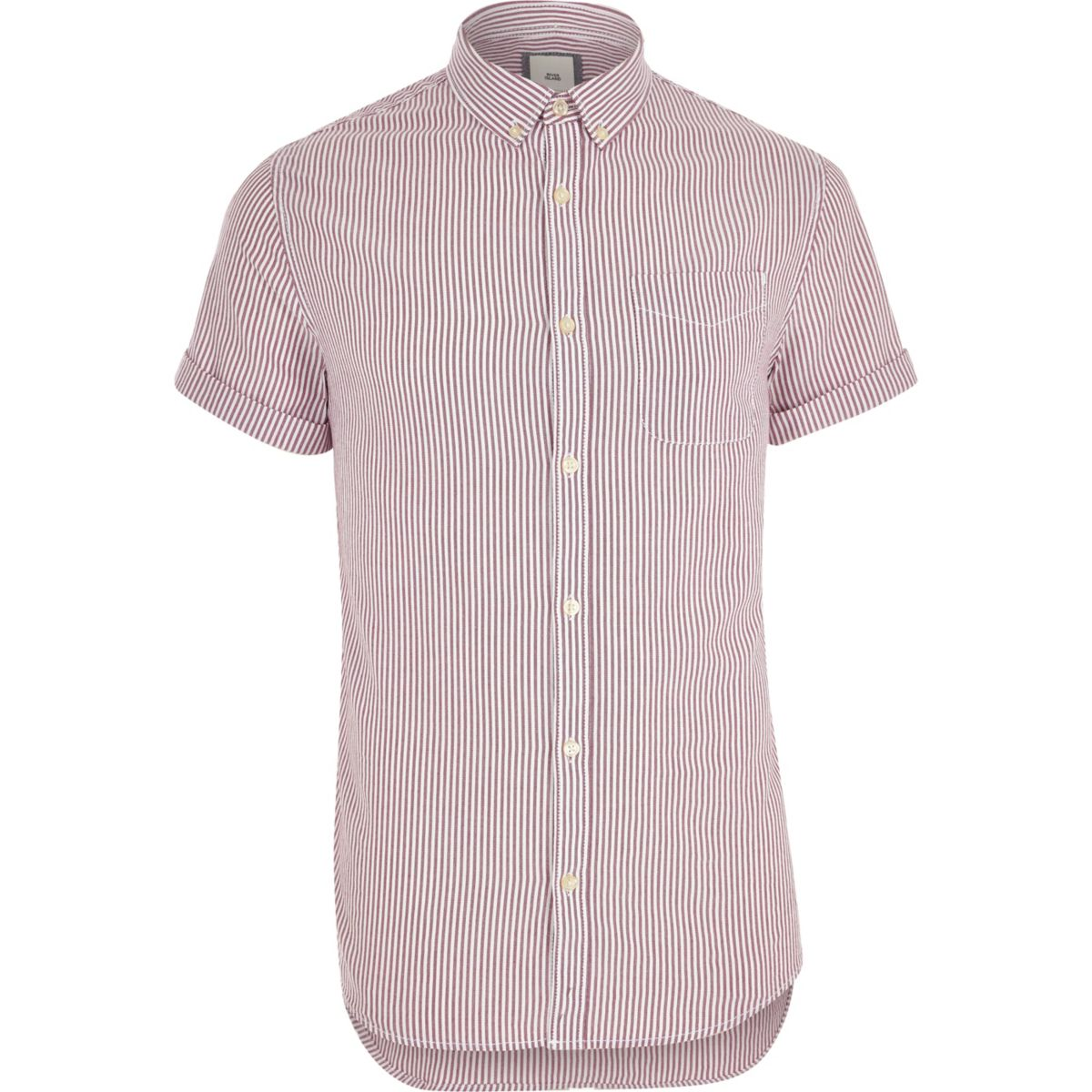 Purple stripe print short sleeve Oxford shirt