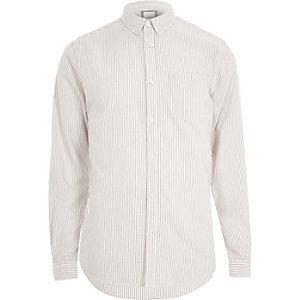 Steingraues, langärmliges Oxford-Hemd mit Streifen