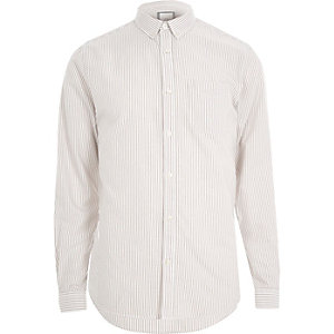 Oxford - Kiezelkleurig gestreept overhemd met lange mouwen