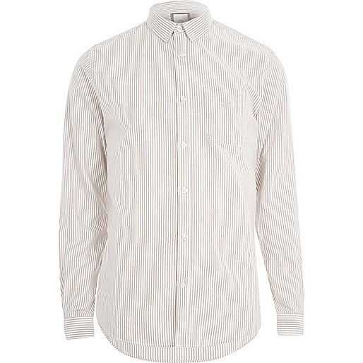 Stone stripe print long sleeve Oxford shirt