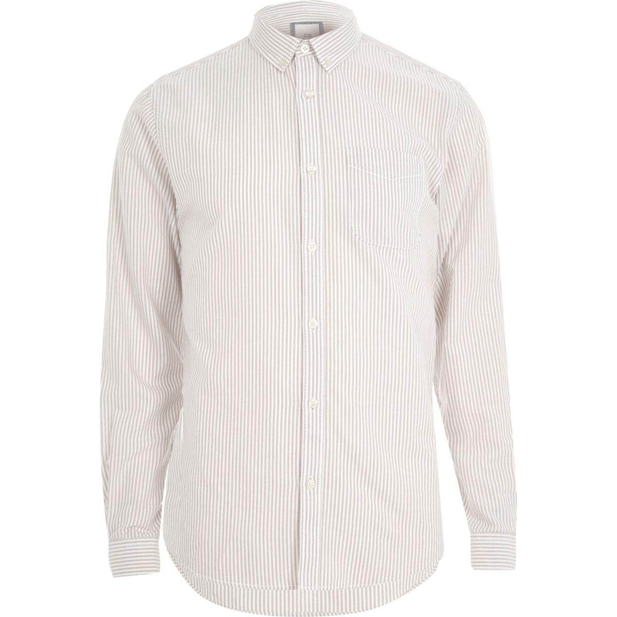 Stone stripe print long sleeve Oxford shirt