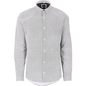 Black weave print long sleeve shirt