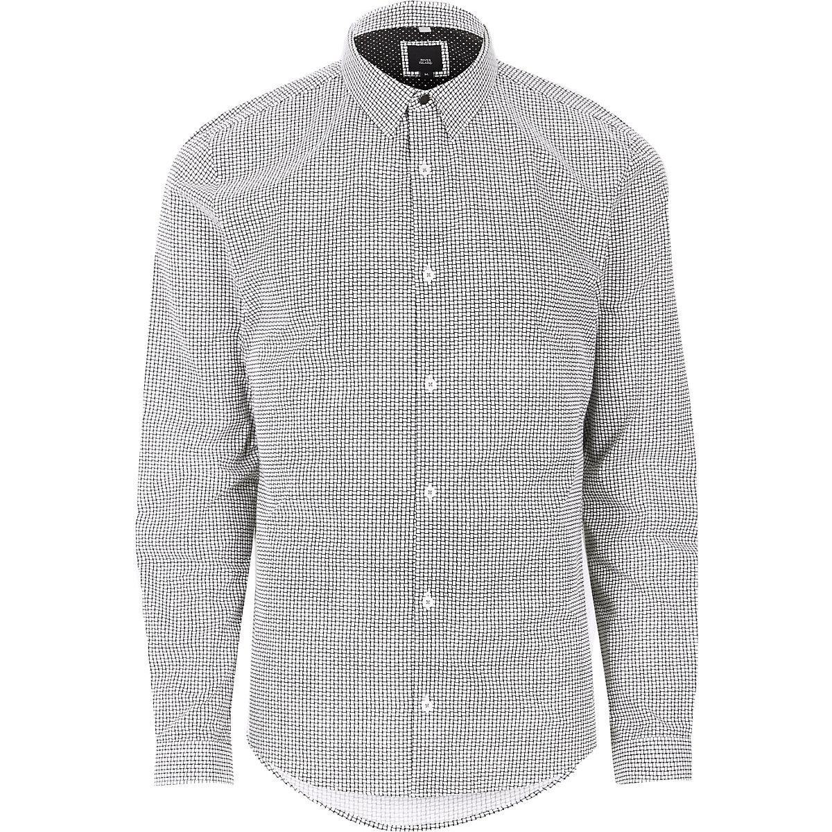 Black weave print long sleeve shirt