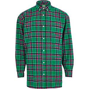 Green check long sleeve button-down shirt