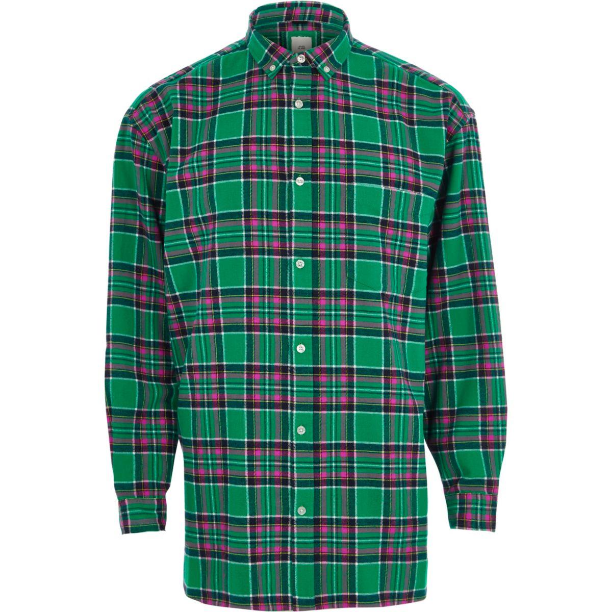 Green check long sleeve oversized shirt