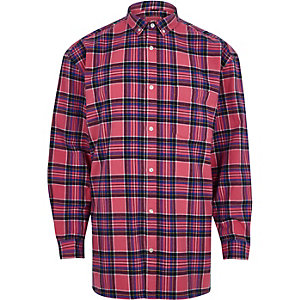 Pink check long sleeve oversized shirt