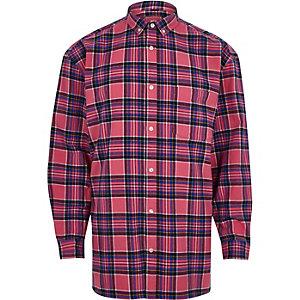 Chemise manches longues oversize à carreaux