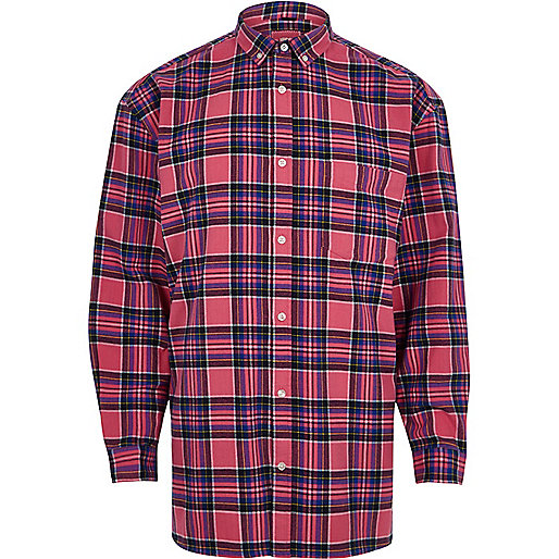 Pink check long sleeve oversized shirt