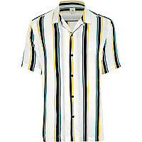 White stripe short sleeve casual shirt