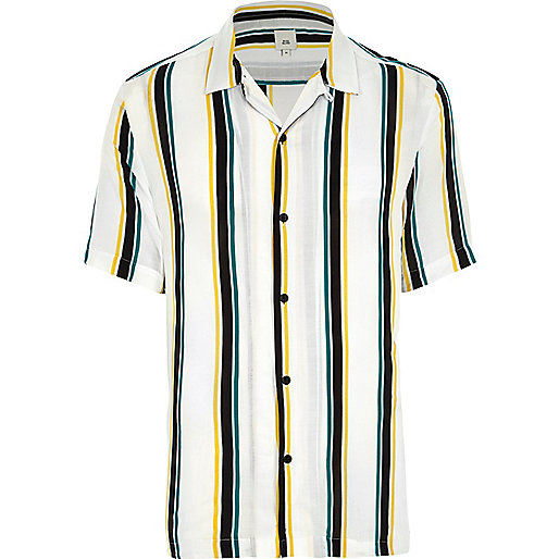 White stripe short sleeve casual shirt