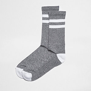 Grey marl stripe tube socks