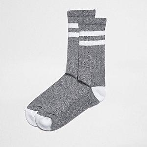 Chaussettes tubes rayées gris chiné