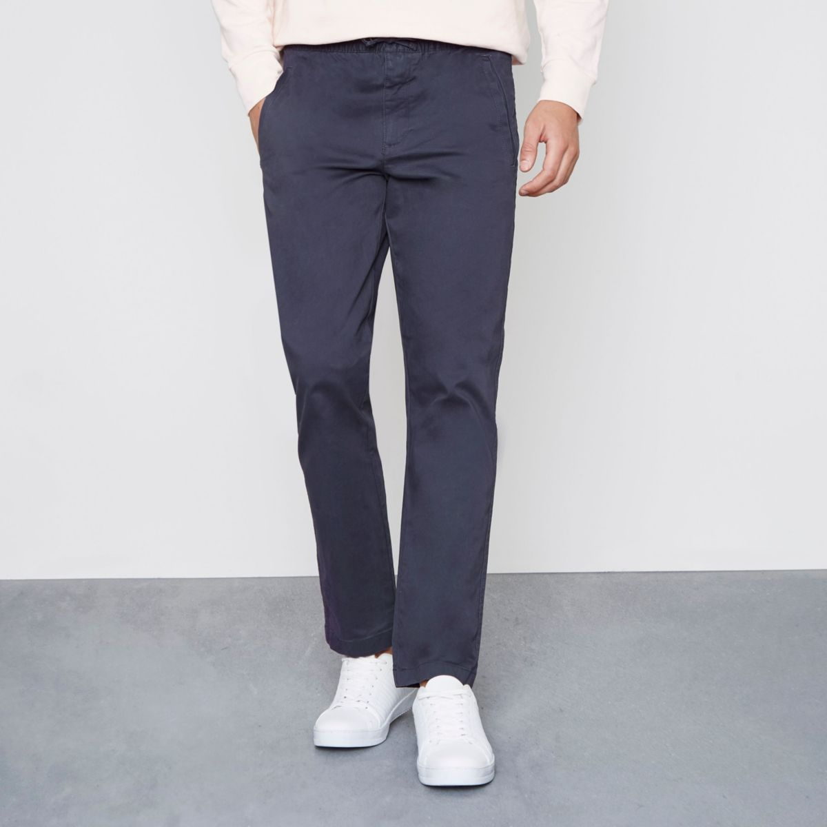 Navy pull on chino trousers