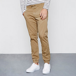 Light brown pull on chino trousers