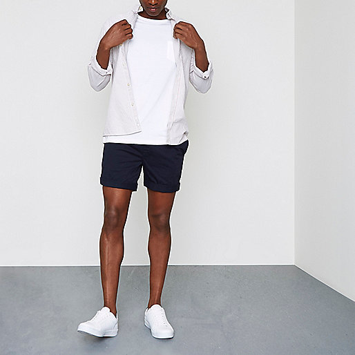 Navy drawcord waist pull-on shorts