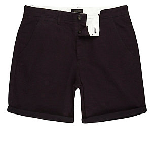 Purple textured slim fit chino shorts