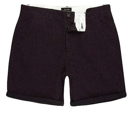 Purple textured slim fit chino shorts