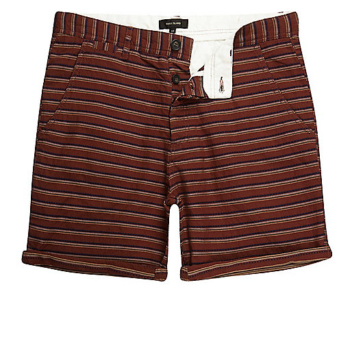 Brown textured stripe slim fit chino shorts