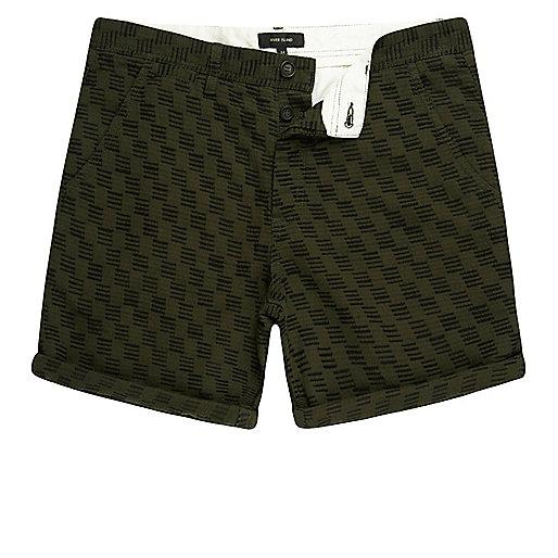 Dark green textured slim fit chino shorts