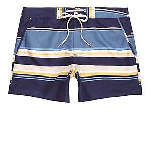 Blue multi stripe swim shorts