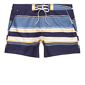 Blue multi stripe swim trunks