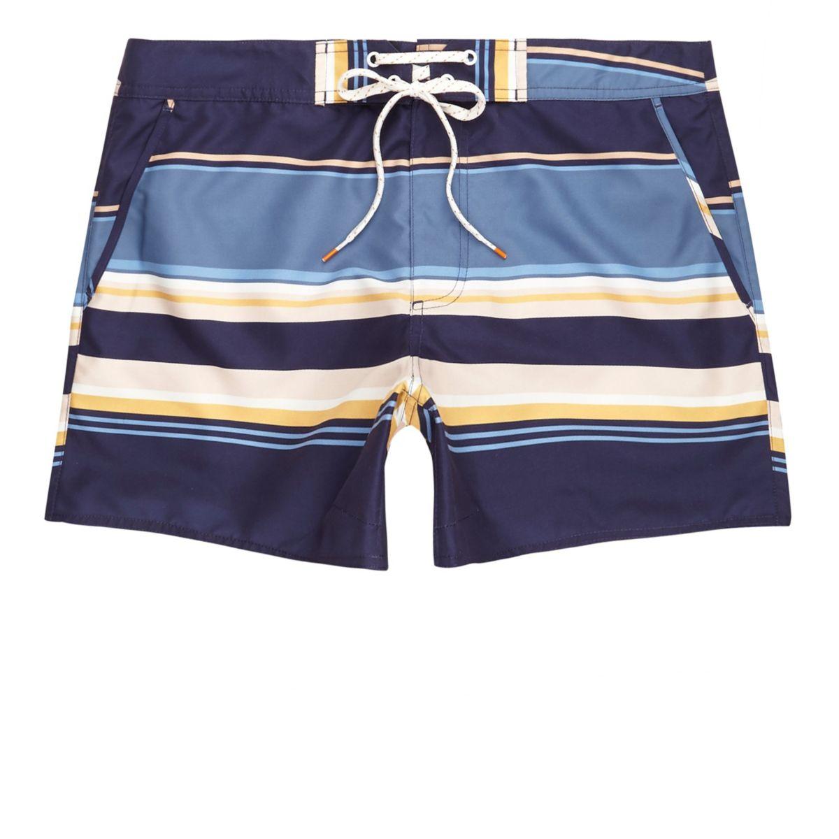 Blue multi stripe swim trunks
