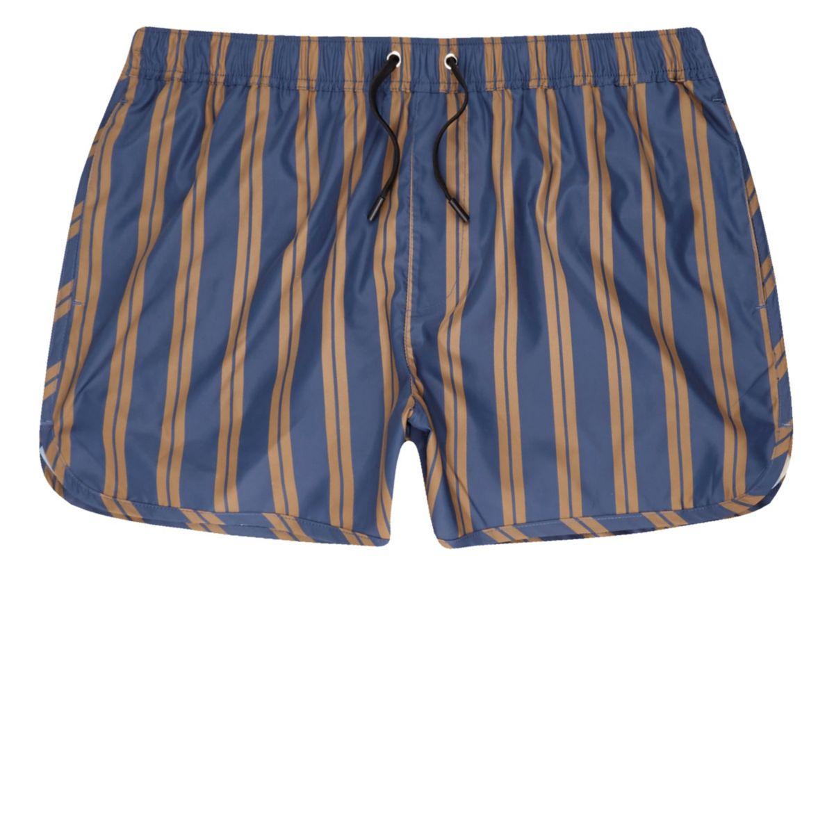 Short de bain rayé bleu et marron clair