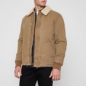 Steingraue Jacke mit Borg-Kragen