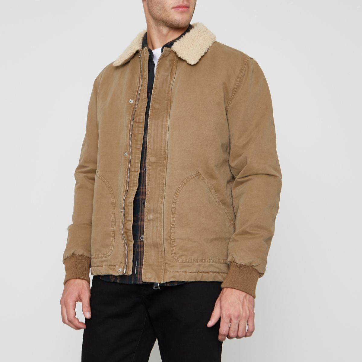 Beige Quilted Jacket River Island
