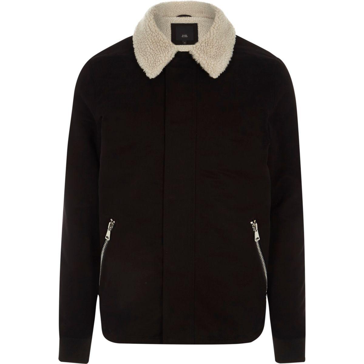 veste noire avec col effet peau de mouton manteaux. Black Bedroom Furniture Sets. Home Design Ideas