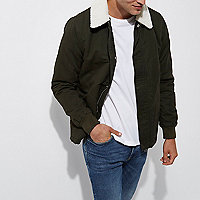 Dark green fleece collar jacket