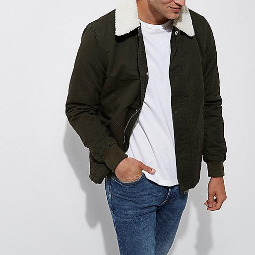 Dark green fleece collar jacket